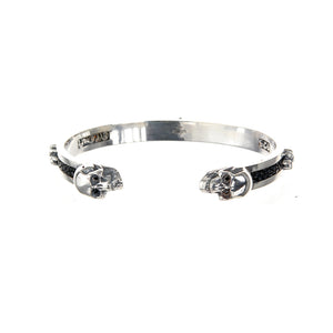 "Silver Bangle ""SKULL"" S  Searay stripe and Lilies"