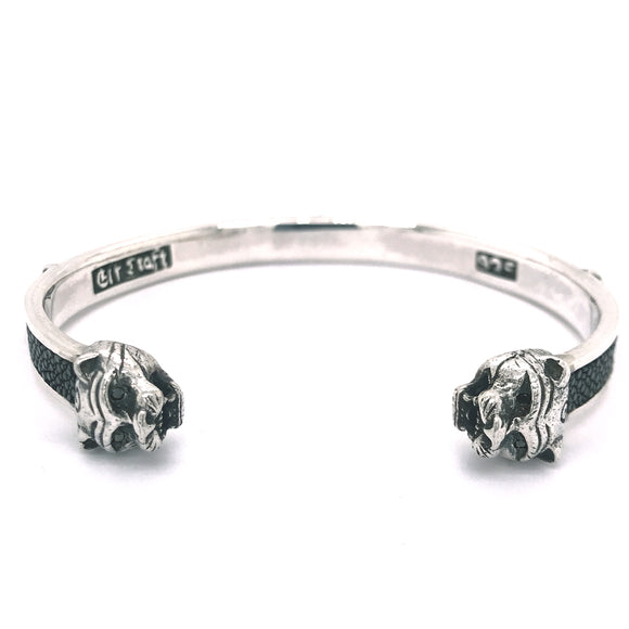 Silver Bangle LION Heads SEARAY Stripe and Lilies