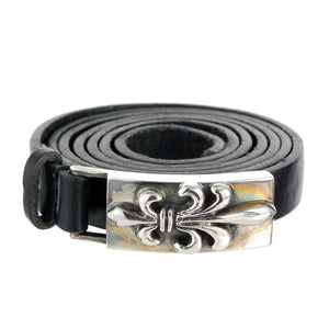 "Leather Bracelet Wrap ""Long Lily"" 12mm"