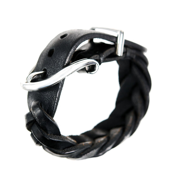 Silver Leather Bracelet PLAIN Buckle
