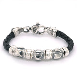 "Silver Leather Bracelet Barrel ""Pyramides"" and Carabiner 6"