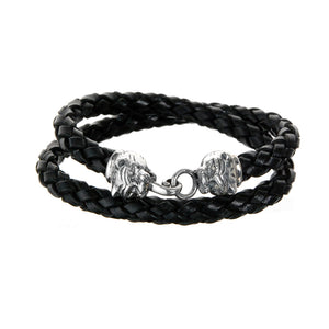 "Silver Leather Bracelet Double Wrap ""Lion"" Heads S with Diamond Eyes"