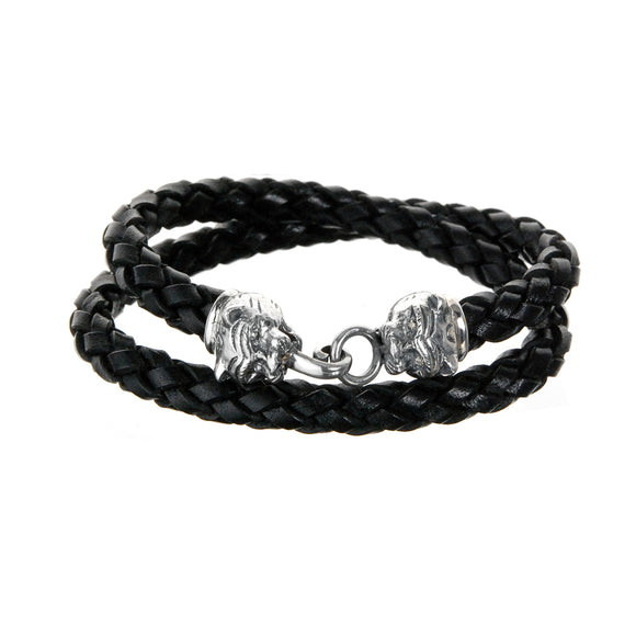 Silver Leather Bracelet Double Wrap
