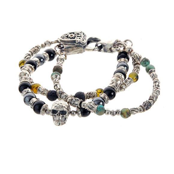 Silver Bracelet Silver Beads and TUBES and SKULL Hammered and Stone Beads