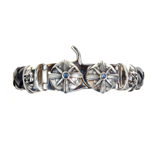 Silver Leather Bracelet Tongslock