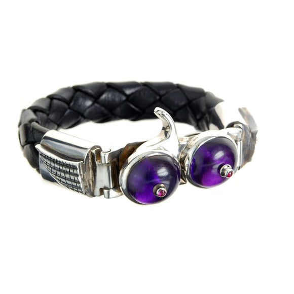 Silver Leather Bracelet flying Amethyst Titts 13