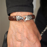 Silver Leather Bracelet SHIELD and METEORITE on Lobster Claw 13