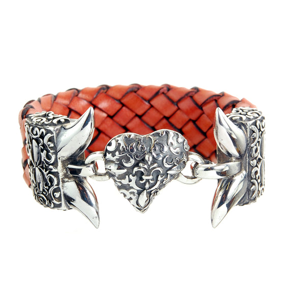 Silver Leather Bracelet Swallowtail
