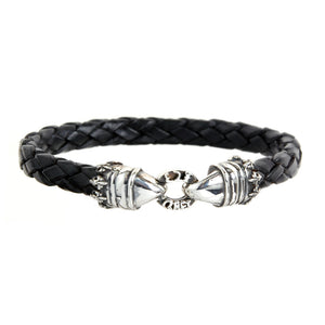 "Silver Leather Bracelet ""Crown and Lilies"" 10"