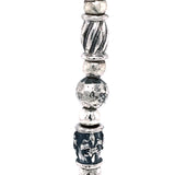 Silver Bracelet Decor Tubes and M00N with Stone Beads on Rubber