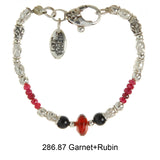 Silver Bracelet Elfin TUBES with GARNET ROCK and RUBIES