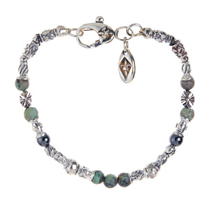 Silver Bracelet TUBES Elfin Lilies, Dragon Scales Spirals Stars with MALTESER CROSS and Beads