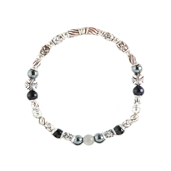 Silver Bracelet TUBES Elfin Lilies, Dragon Scales Spirals Stars with Malteser Cross and Beads Rubber
