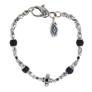 Silver Bracelet Tubes and PLAIN CROSS and Beads with Black Diamonds