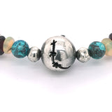 Silver Bracelet Tubes Rough and Zodiac Ball and Stars Balls+stone beads