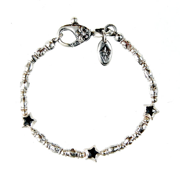 Silver Bracelet Mini TUBES Rough and Mini STARS