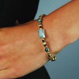 Silver Bracelet GOLD PLATED ROUGH TUBES and STONE ROCK and Fine Stones