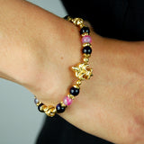 Silver Bracelet GOLD Plated LILY and MALTESER CROSS BALLS and Carabiner