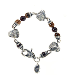 Silver Bracelet Beads and 3 LEOPARD HEADS and Lily Carabiner
