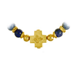 "Silver Bracelet Beads and Plain Cross with ""Blades cross"" balls Gold plated"