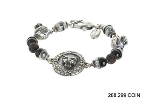 "Silver Bracelet Beads and ""Lion"" Coin and Lions  karabiner"