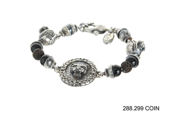 Silver Bracelet Beads and LION COIN and Lions with Karabiner