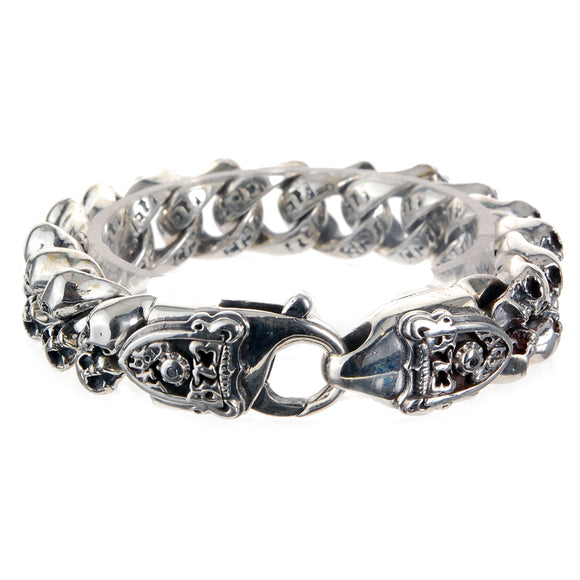 Silver Bracelet S with Mini SKULL s Lobster Claw with SHIELD