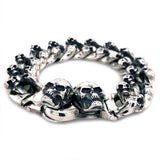 Silver Bracelet MINI SKULLS with Skull Tongslock