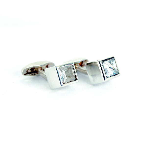 Silver Cufflinks CUBE with Facetted White Zirkonia