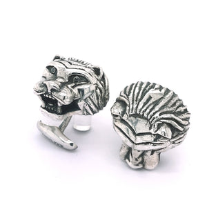 Silver Cufflinks LION HEAD L