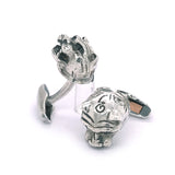 Silver Cufflinks LION HEAD s with Black Diamond Eyes