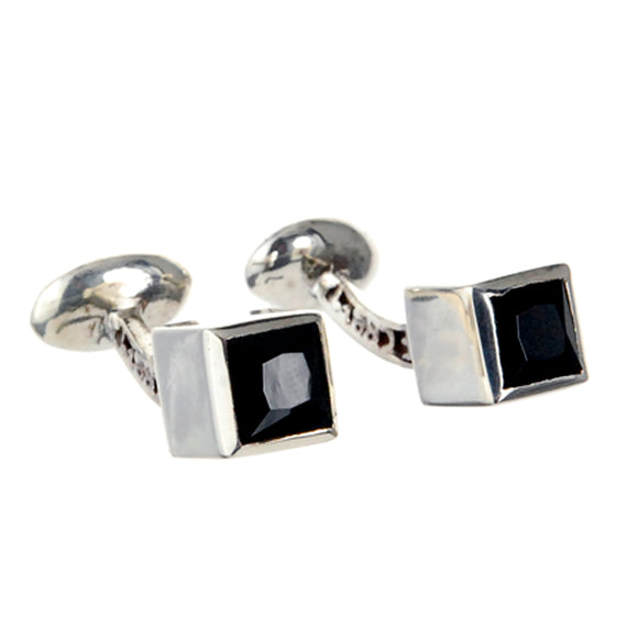 Silver Cufflinks CUBE with Facetted Onyx