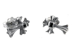 Silver Earpin SPROUTS CROSS  XS