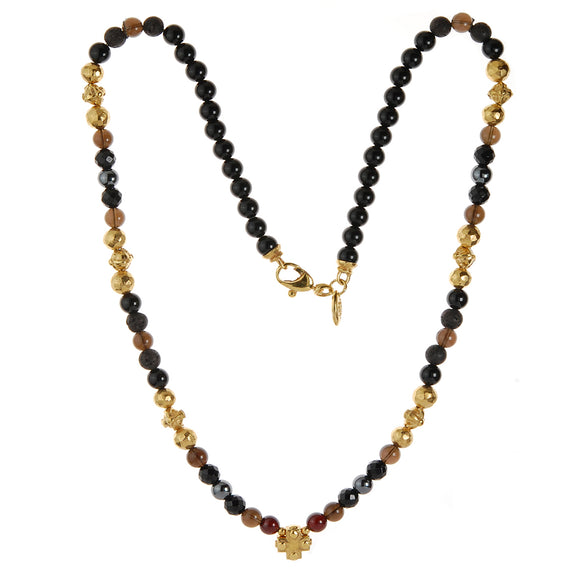 Neckchain BEADS and Facetted PLAIN CROSS Balls