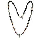 Neckchain Beads and Facetted Silver BLADES CROSS  Balls and Tubes
