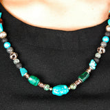 Rocks and Beads Necklace with Silver Tubes and Balls