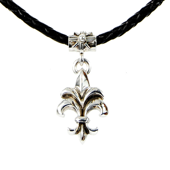 Silver Leather Neckband LILY with Morning Star