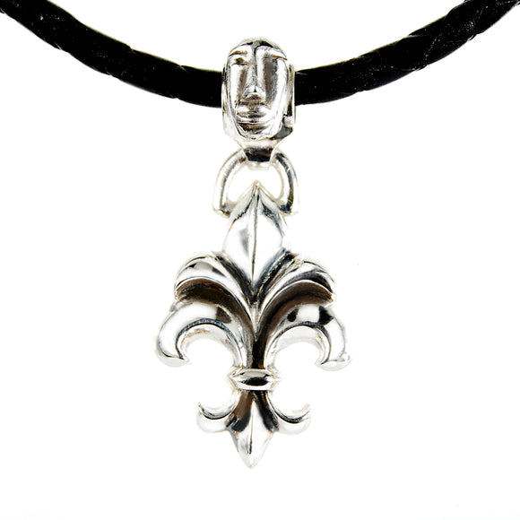 Silver Leather Neckband LILY with Guardian Face