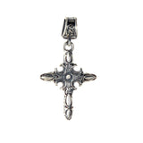 Silver Pendant CRESCENT CROSS in GARDEN AT NIGHT