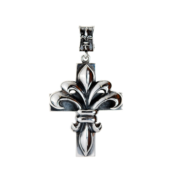 Silver Pendant LILY ON CROSS Large