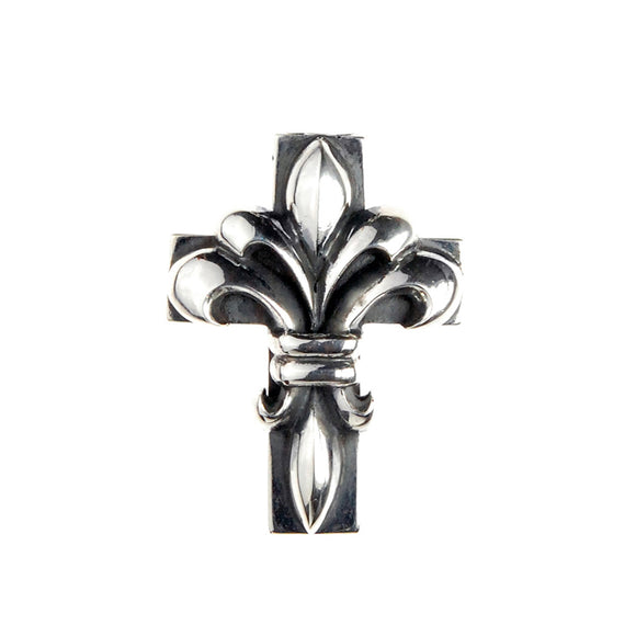 Silver Pendant LILY ON CROSS M Hole