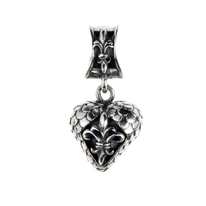 Silver Pendant HEART with DRAGON SCALES
