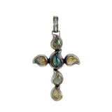 "Silver Pendant Cross with ""Paisley"" Stones"