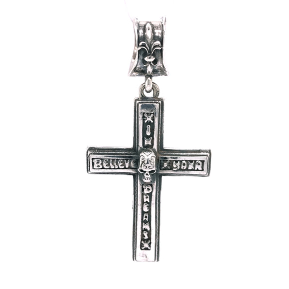 Silver Pendant CROSS with SKULL and BELIEVE IN YOUR DREAMS