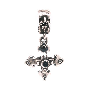 Silver Pendant BLADES CROSS Body with Stones 30