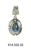 Silver Pendant ROUGH OVAL with Stone