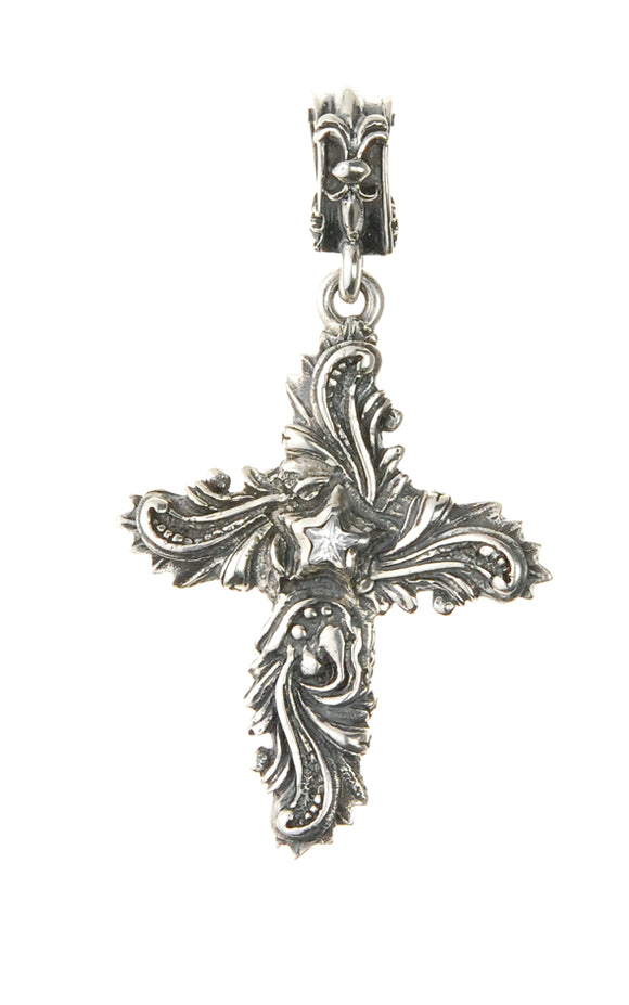 Silver Pendant MAGIC PLANT Cross and STAR