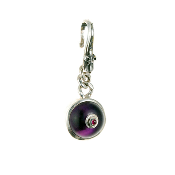 Silver Pendant Amethyst TITTS with Ruby Nippel