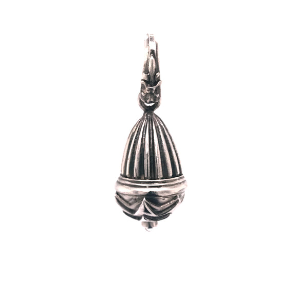 Silver Pendant STRIPED BELL with STAR