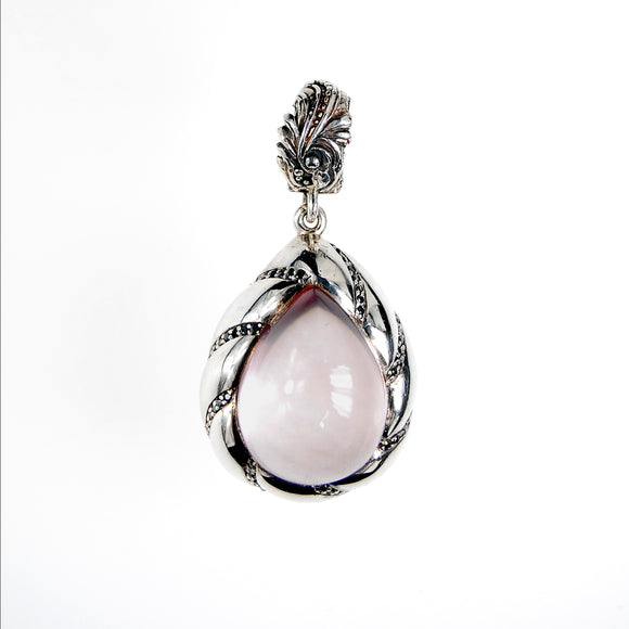 Silver Pendant SPIRAL DROP with ROSE QUARZ